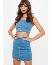 Missguided - Blue Super Stretch Studded Denim Mini Skirt - Lyst
