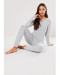 e355e657f84 Lyst - Missguided Knitted Rib Off The Shoulder Jumpsuit Grey in Gray