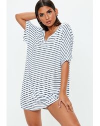2a42105c700a Missguided White Stripe Oversized T-shirt Dress in White - Lyst