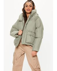 Missguided Green Oversized Hooded Ultimate Puffer Jacket