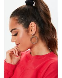 Missguided - Gold Look Chain Drop Hoop Earrings - Lyst