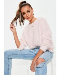 9e9942eca Lyst - Missguided Fluffy Short Sleeve Crop Sweater Pink in Pink