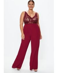 4f26378b0e Missguided - Plus Size Burgundy Lace Plunge Wide Leg Jumpsuit - Lyst