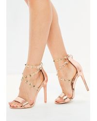 e17391192ea3 Missguided Nude Teardrop Embellished Heeled Sandals in Natural - Lyst