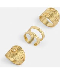 Missguided - Gold Triple Ring Pack - Lyst