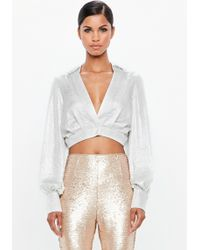 Missguided - Peace + Love Silver Metallic Cropped Wrap Blouse - Lyst