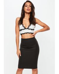 Missguided - White Polka Dot Lace Trim Bralet - Lyst