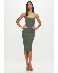 Missguided - Green Strappy Midi Dress - Lyst