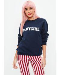 Missguided - Navy Babygirl Slogan Sweatshirt - Lyst