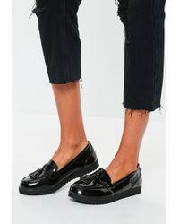Missguided - Black Tassel Flat Loafers - Lyst