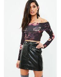 Missguided - Black Bardot Long Sleeve Crop Top - Lyst