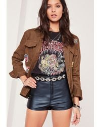 Missguided - Vice Tube Denim Shorts Coated Blue - Lyst