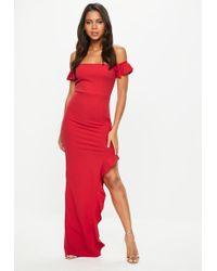 Missguided - Tall Red Bardot Frill Maxi Dress - Lyst