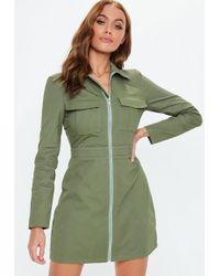 Missguided - Khaki Zip Through Skater Shirt Dress - Lyst