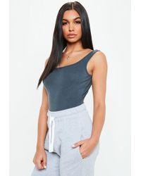 Missguided - Blue Square Neck Cotton Jersey Bodysuit - Lyst