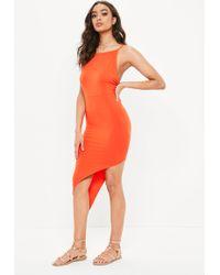 Missguided - Orange Jersey Asymmetric Hem Bodycon Dress - Lyst