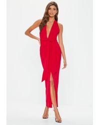 Missguided - Red Plunge Tie Waist Midaxi Dress - Lyst