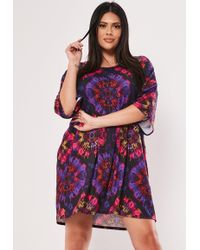 55a38071fc59 Missguided Petite Purple Tie Dye Oversized T-shirt Dress in Purple ...