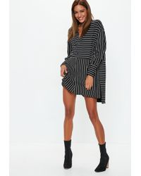 Missguided - Black Extreme Oversized Stripe Long Sleeve Shirt - Lyst 0d0ede937