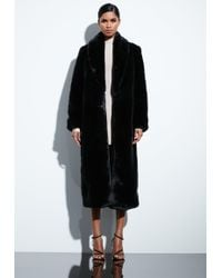 35078e4d7ae6 Lyst - Missguided Longline Faux Wool Coat With Faux Fur Collar Black ...