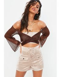 Missguided - Beige Satin Lace Up Shorts - Lyst