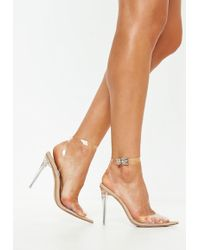 Missguided - Nude Clear Ankle Strap Court Shoes - Lyst