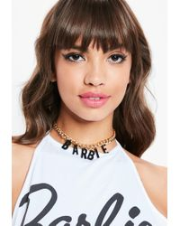 Missguided - Barbie X Gold Chain Barbie Necklace - Lyst