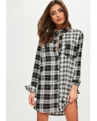Missguided - White Checked Shirt Dress - Lyst