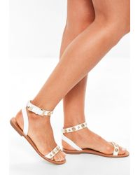 Missguided - White Two Strap Gold Trim Flat Sandals - Lyst