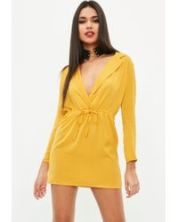 Missguided - Petite Yellow Hammered Satin Tie Waist Dress - Lyst