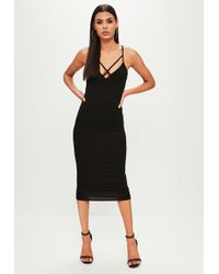 Missguided - Black Cowl Front Jersey Dress - Lyst