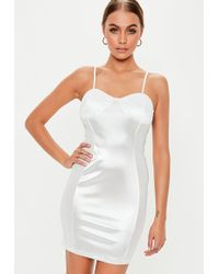 6d06be5862a Lyst - Missguided Strappy Bust Cup Bodycon Dress White in White