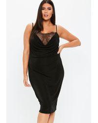 52d16d7d301 Missguided - Plus Size Black Lace Cowl Neck Midi Dress - Lyst