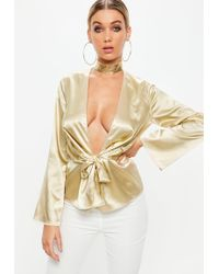 Missguided - Gold Satin Plunge Drape Front Blouse - Lyst