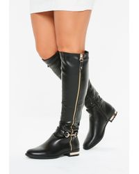 f51bf49710d7 Missguided - Black Buckle Detail Faux Leather Knee High Boots - Lyst