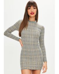 Missguided - Petite Grey Checked High Neck Mini Dress - Lyst