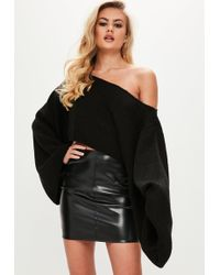Missguided - Black Extreme Sleeve Cropped Jumper - Lyst