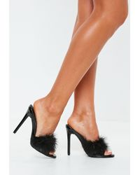 Missguided - Black Clear Feather Detail Mules - Lyst