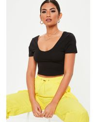 Missguided - Black V Front Fitted Crop Top - Lyst