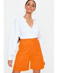 Missguided - Orange Utility Cargo Shorts - Lyst