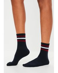 Missguided - Navy Stripe Sports Socks - Lyst