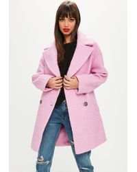 Missguided - Pink Oversized Boucle Coat - Lyst
