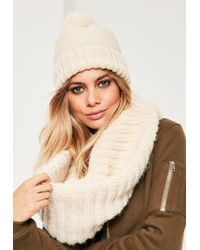 Missguided - Cream Knitted Snood & Hat Set - Lyst