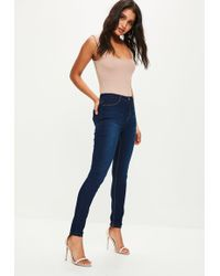 Missguided - Dark Blue Lawless High Waisted Skinny Jeans - Lyst