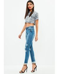 Missguided - Blue Sinner Ripped Shadow Pocket Jeans - Lyst