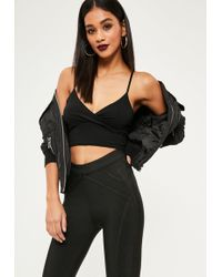 Missguided - Jersey Wrap Over Bralet Black - Lyst