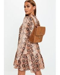 Missguided - Camel Ring Detail Faux Suede Backpack - Lyst