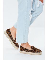 Missguided - Brown Leopard Print Flat Espadrilles - Lyst