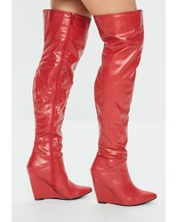 7d002a8c7b5d Lyst - Missguided Red Pointed Over The Knee Faux Suede Boots in Red