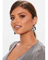 Missguided - Black And White Resin Hoop Earrings - Lyst